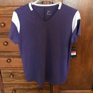 NWT. Women's purple and white T-shirt size large